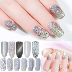 Nail UV Gel Polish Silver Holographics Sequins Glitter Shini
