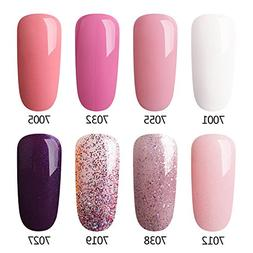 AZUREBEAUTY Gel Nail Polish Set Pink Purple Glitter Colors S