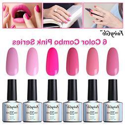 FairyGlo 6 PCS Pink Gel Nail Polish UV LED Soak Off Varnish
