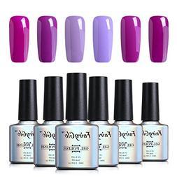 6PCS Purple Nail Polish Gel UV LED Soak Off Nail Art Kit Gor