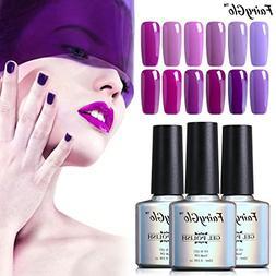 12pcs Purple Nail Polish Soak Off UV LED Nail Art Varnish Go