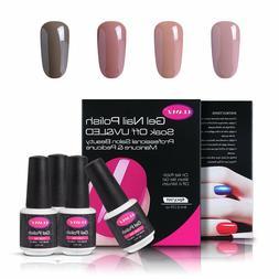 CLAVUZ Soak Of UV LED Gel Nail Polish,4pcs Nude Colors Colle