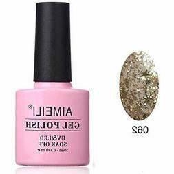 Soak Off UV LED Clear Glitter Gel Nail Polish - Golden Super