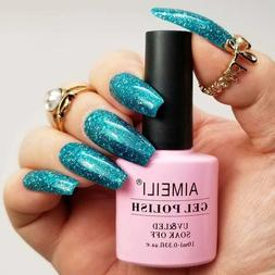 AIMEILI Soak Off UV LED Gel Nail Polish - Diamond Glitter Te