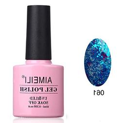 AIMEILI Soak Off UV LED Clear Glitter Gel Nail Polish - Glit