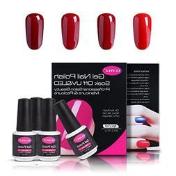 CLAVUZ Soak Of UV LED Gel Nail Polish,4pcs Burgundy Nail Pol