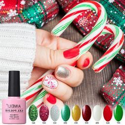 AIMEILI Sparkle Glitter Varnish Soak Off UV LED Gel Nail Pol