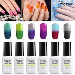 FairyGlo 6 PCS Thermal Color Changing Gel Nail Polish UV LED
