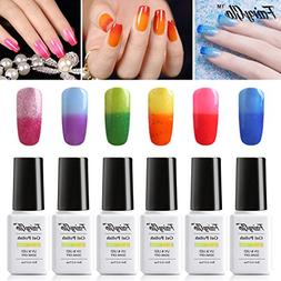 FairyGlo Color Changing Nail Polish UV LED Soak Off 6 PCS Th