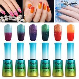 FairyGlo 6 PCS Thermal Color Changing Nail Polish UV LED Soa