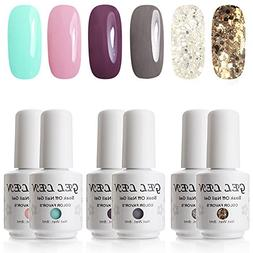 UV LED Gel Nail Polish - Gellen Pack of 6 Colors, Soak Off G