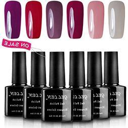 Gellen 6 Popular Colors UV Gel Nail Polish Kit, Soak Off Nai