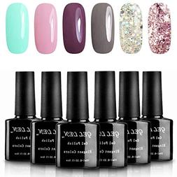 Gellen Various 6 Romantic Colors Gel Nail Polish Starter Kit