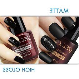 Gellen No Wipe Matte Top Coat and High Gloss Shiny Top Coat