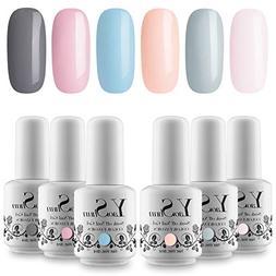 YaoShun 6 Colors UV LED Gel Nail Polish Set Soak Off Nail Ge